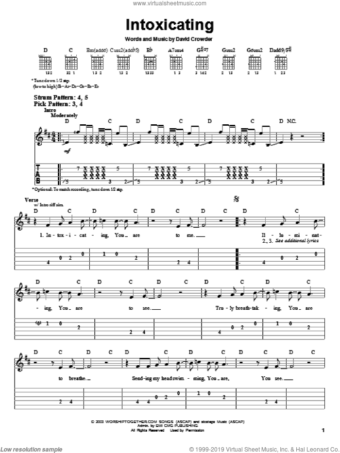 Intoxicating sheet music for guitar solo (easy tablature) by David Crowder Band and David Crowder, easy guitar (easy tablature)