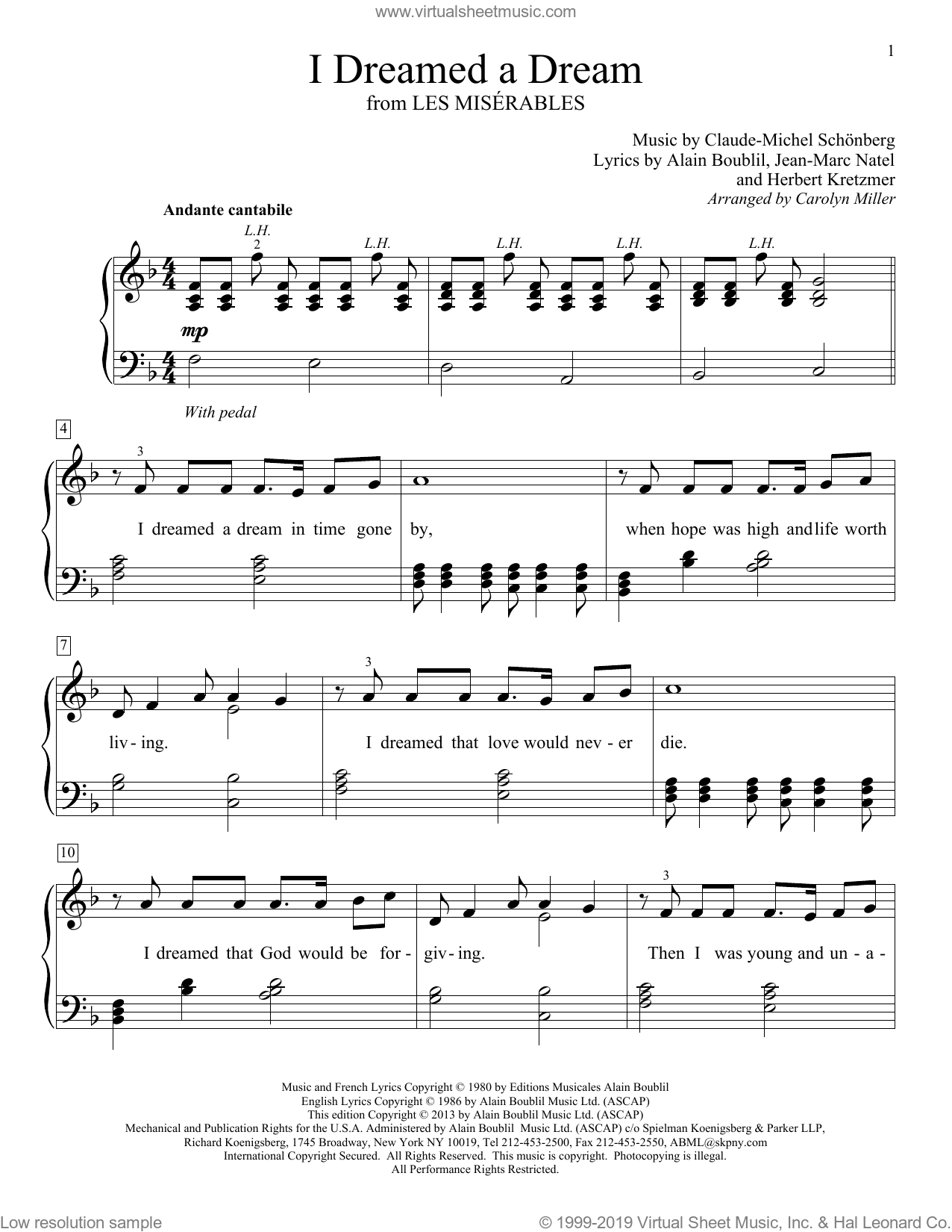 I Dreamed A Dream sheet music for piano solo (elementary) by Carolyn Miller