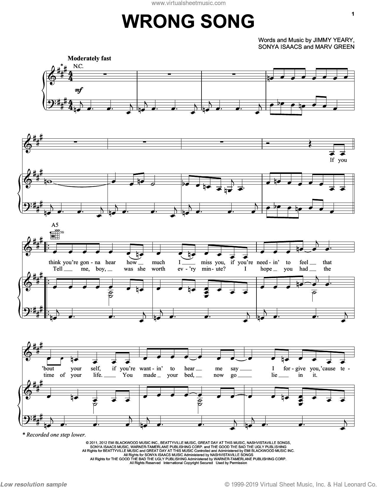 Wrong Song sheet music for voice, piano or guitar by Sonya Isaacs, Jimmy Yeary and Marv Green. Score Image Preview.