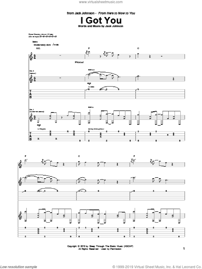 I Got You sheet music for guitar (tablature) by Jack Johnson. Score Image Preview.