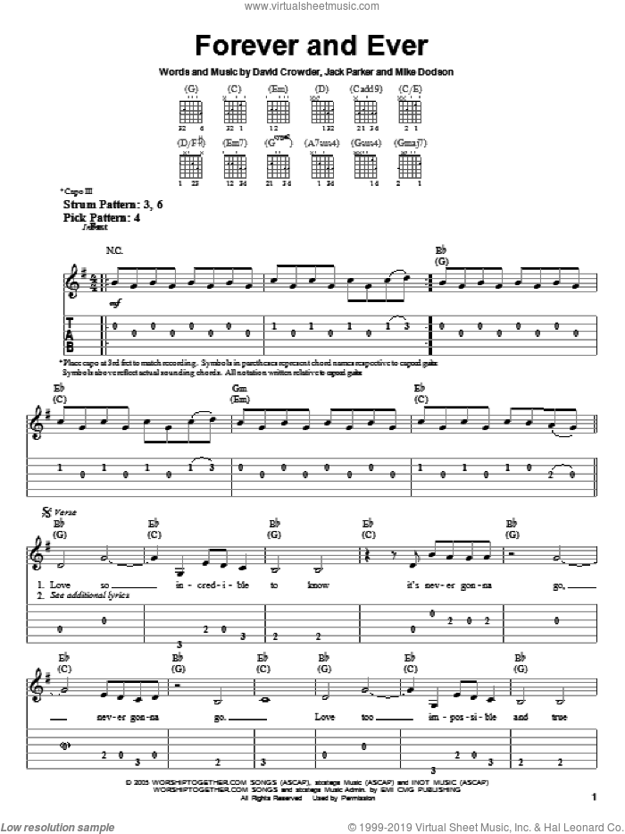 Forever And Ever sheet music for guitar solo (easy tablature) by David Crowder Band, David Crowder, Jack Parker and Mike Dodson, easy guitar (easy tablature)