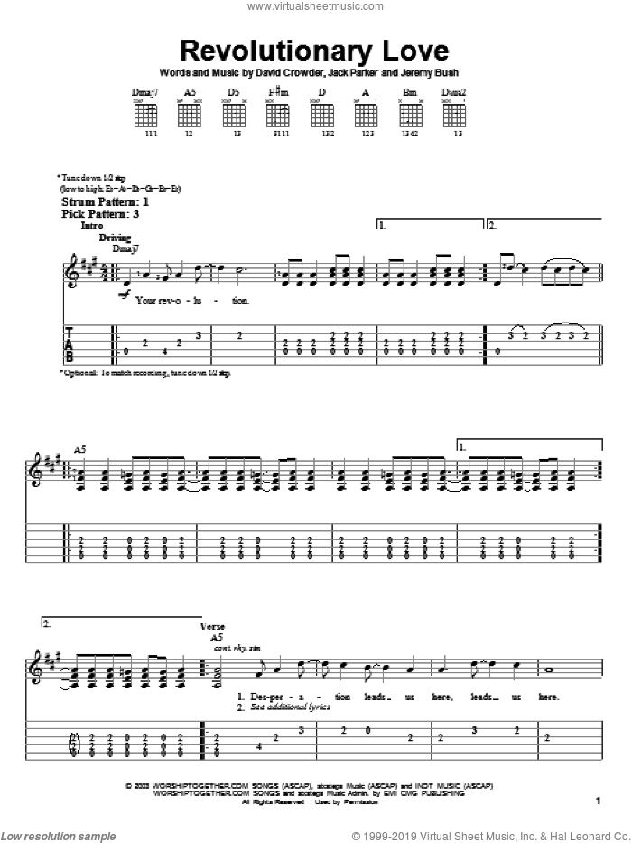 Revolutionary Love sheet music for guitar solo (easy tablature) by David Crowder Band, David Crowder, Jack Parker and Jeremy Bush, easy guitar (easy tablature)