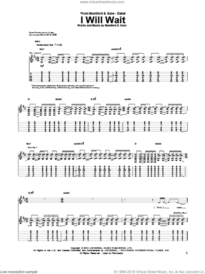 I Will Wait sheet music for guitar (tablature) by Mumford & Sons. Score Image Preview.