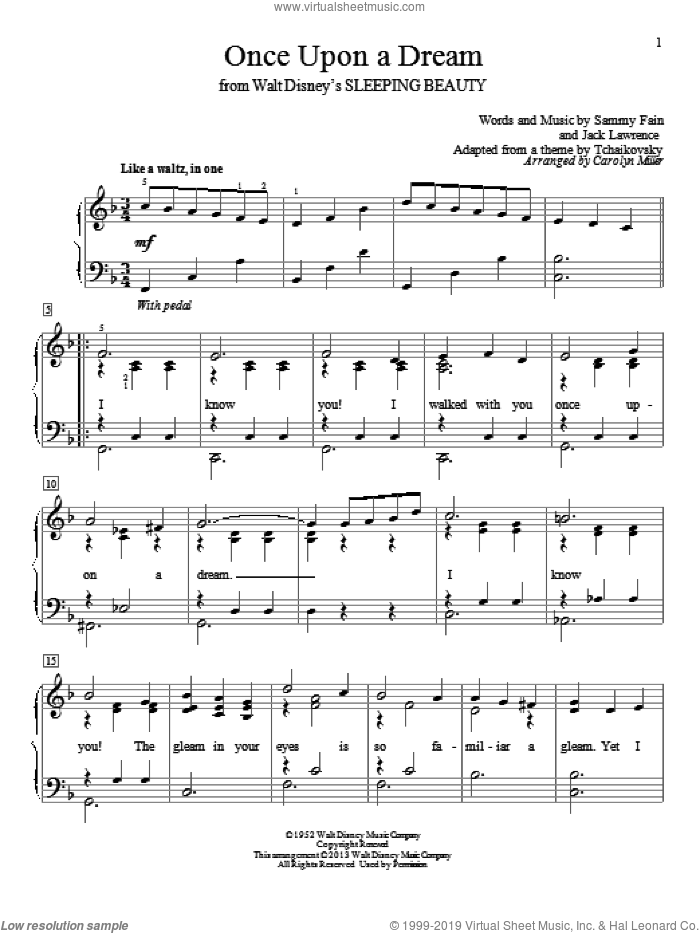 Once Upon A Dream sheet music for piano solo (elementary) by Sammy Fain, Carolyn Miller and Jack Lawrence, beginner piano (elementary)