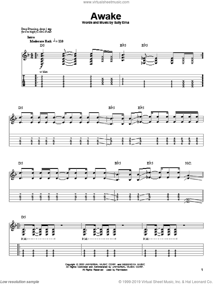 Awake sheet music for guitar (tablature, play-along) by Sully Erna