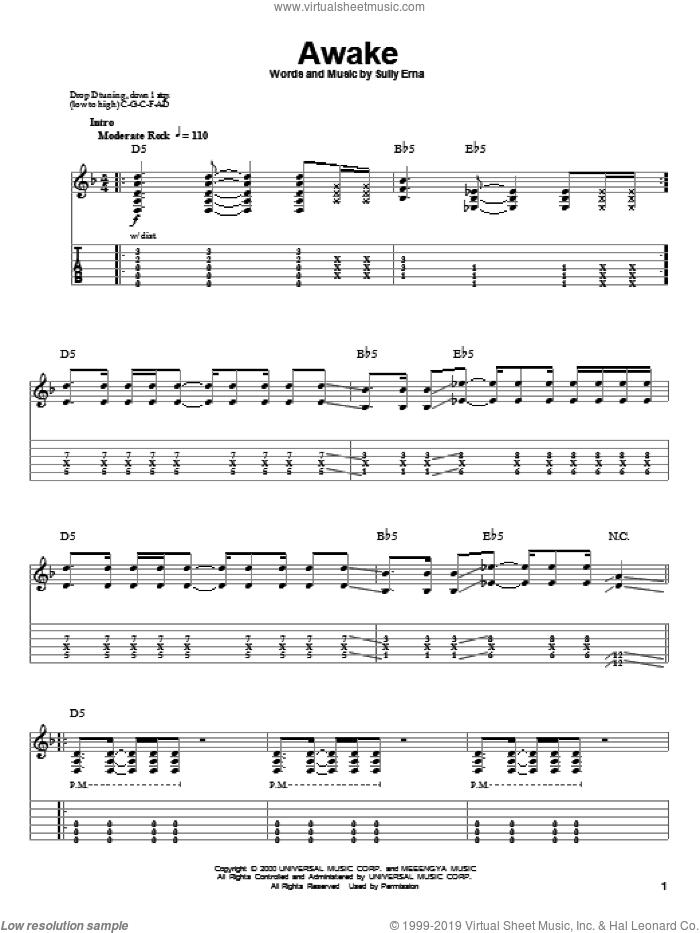 Awake sheet music for guitar (tablature, play-along) by Godsmack and Sully Erna, intermediate skill level