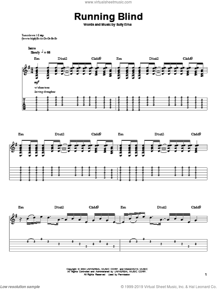 Running Blind sheet music for guitar (tablature, play-along) by Godsmack and Sully Erna, intermediate skill level