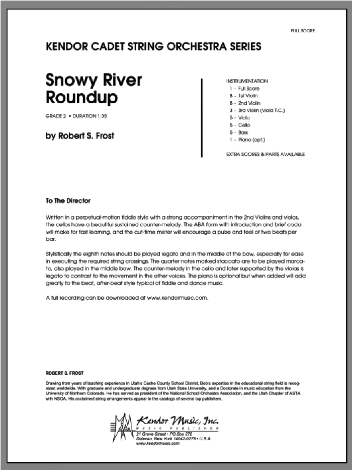 Snowy River Roundup sheet music for orchestra (full score) by Frost. Score Image Preview.