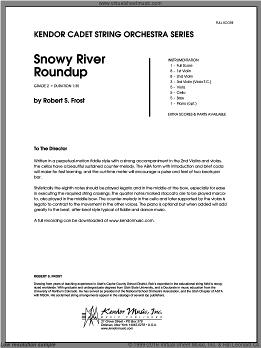 Snowy River Roundup (COMPLETE) sheet music for orchestra by Frost. Score Image Preview.