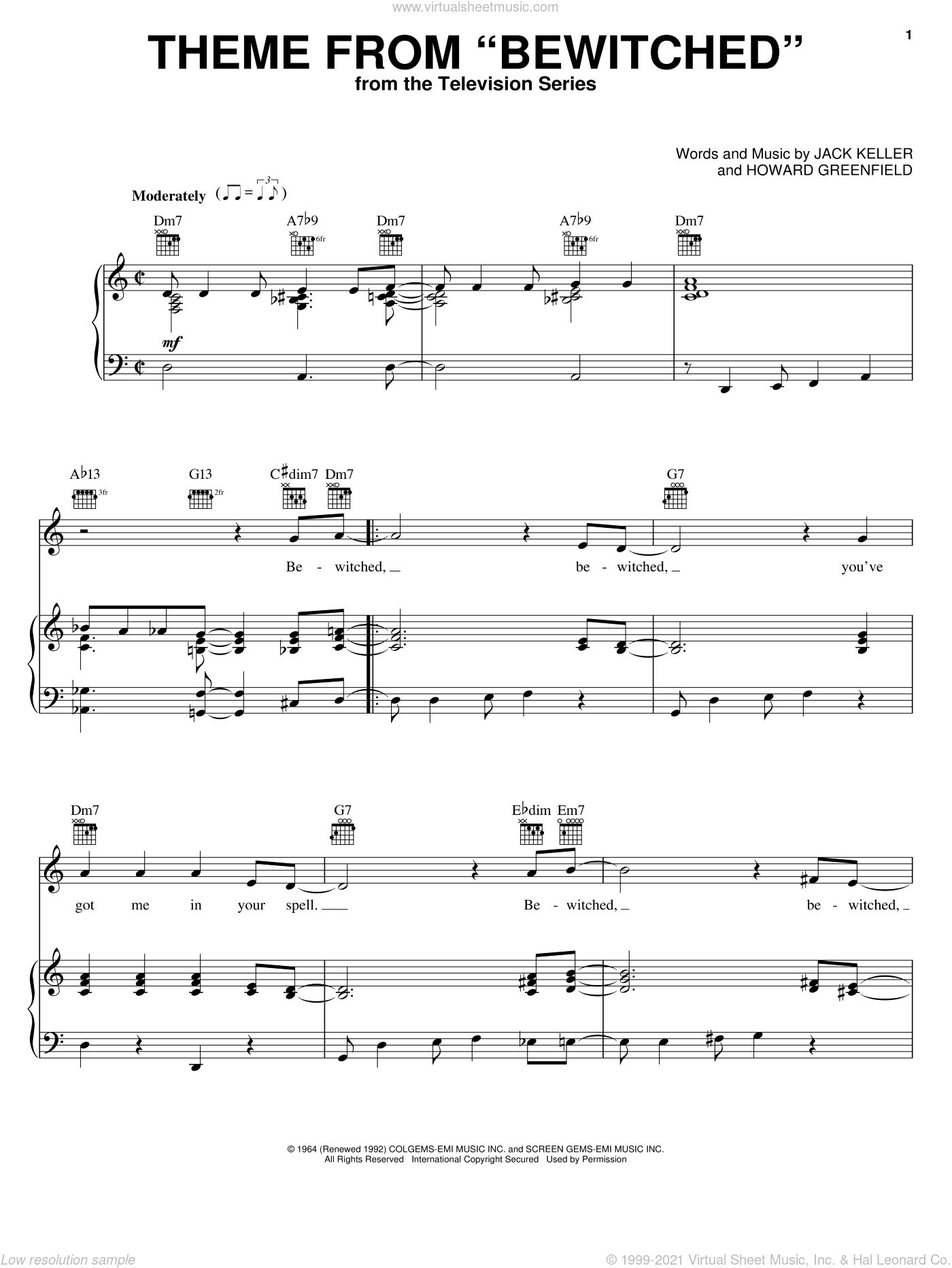 Theme from Bewitched sheet music for voice, piano or guitar by Jack Keller