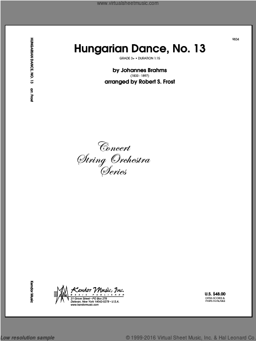 Hungarian Dance, No. 13 (COMPLETE) sheet music for orchestra by Frost and Johannes Brahms. Score Image Preview.