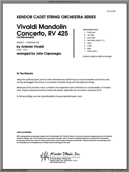 Vivaldi Mandolin Concerto, RV 425 (1st Movement) (COMPLETE) sheet music for orchestra by Antonio Vivaldi and Caponegro, classical score, intermediate orchestra. Score Image Preview.