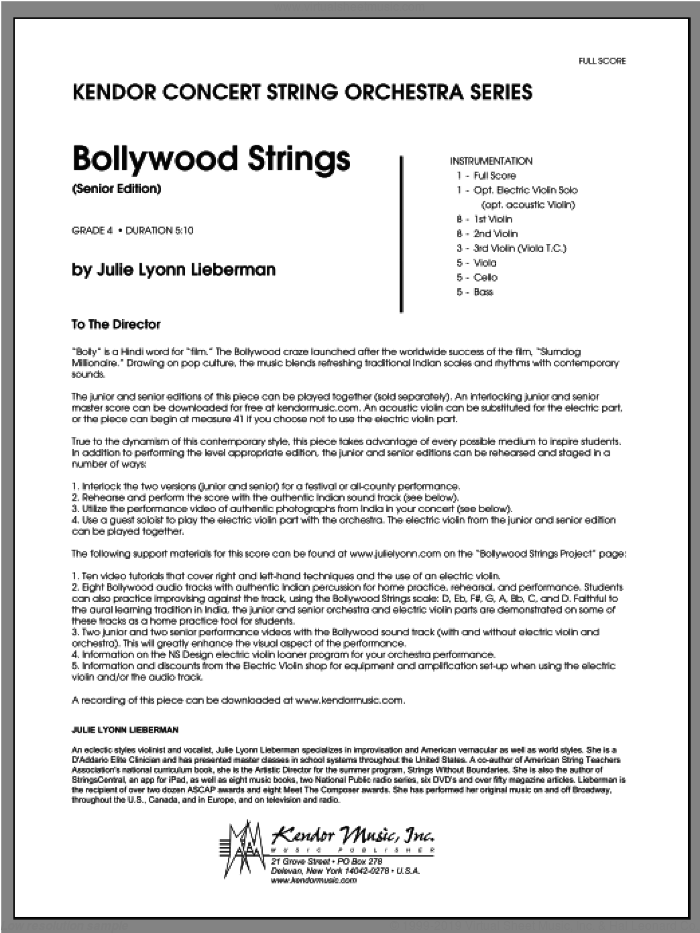 Bollywood Strings (Senior Edition) sheet music for orchestra (full score) by Julie Lyonn Lieberman, classical score, intermediate. Score Image Preview.