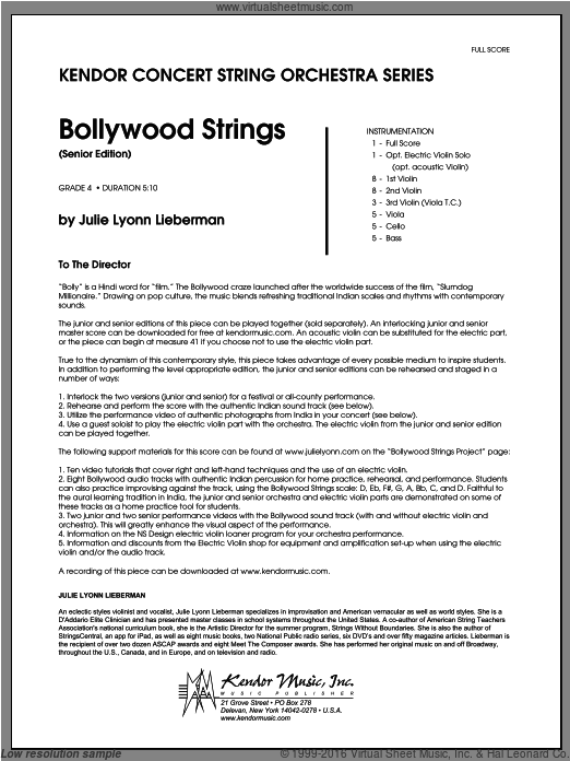 Bollywood Strings (Senior Edition) (COMPLETE) sheet music for orchestra by Julie Lyonn Lieberman. Score Image Preview.