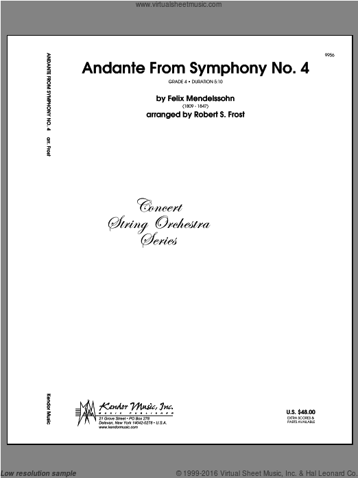Andante From Symphony No. 4 (COMPLETE) sheet music for orchestra by Felix Mendelssohn-Bartholdy and Frost. Score Image Preview.