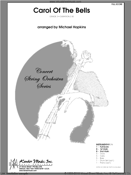Carol of the Bells (COMPLETE) sheet music for orchestra by Michael Hopkins. Score Image Preview.