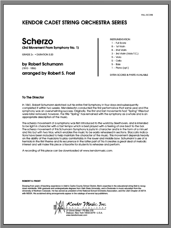 Scherzo (3rd Movement From Symphony No. 1) sheet music for orchestra (full score) by Robert Schumann and Frost. Score Image Preview.