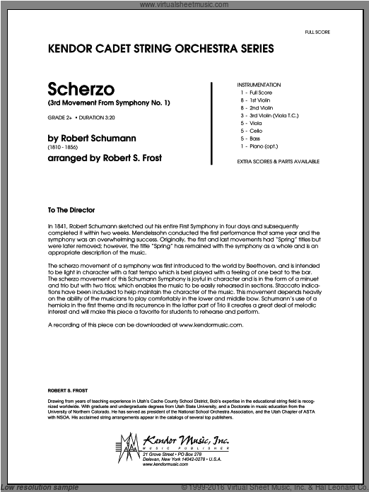 Scherzo (3rd Movement From Symphony No. 1) (COMPLETE) sheet music for orchestra by Frost and Robert Schumann. Score Image Preview.