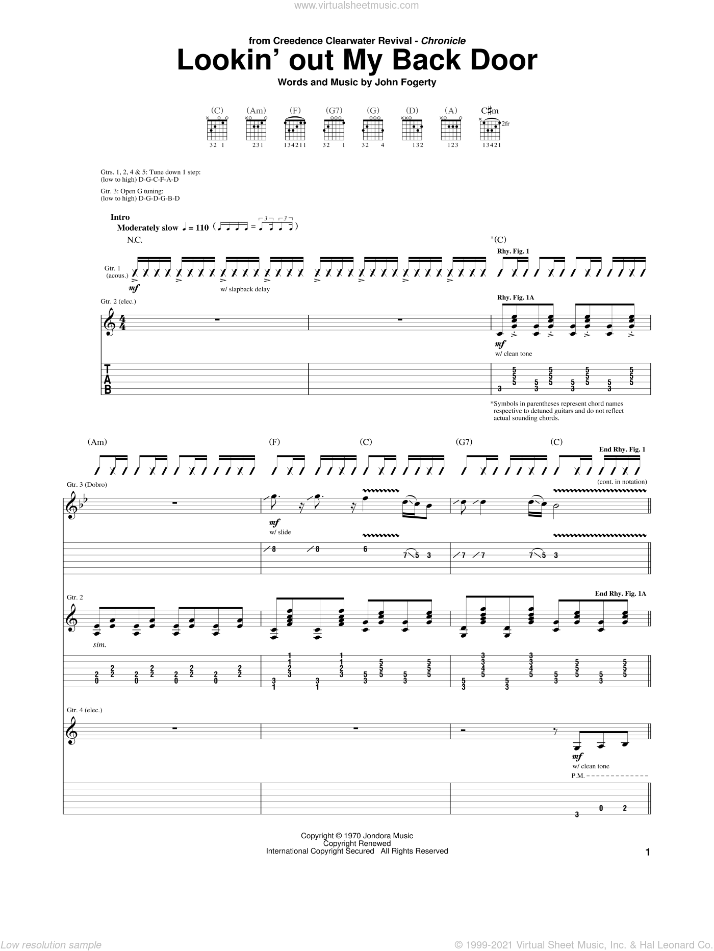 Lookin' Out My Back Door sheet music for guitar (tablature) by John Fogerty and Creedence Clearwater Revival. Score Image Preview.