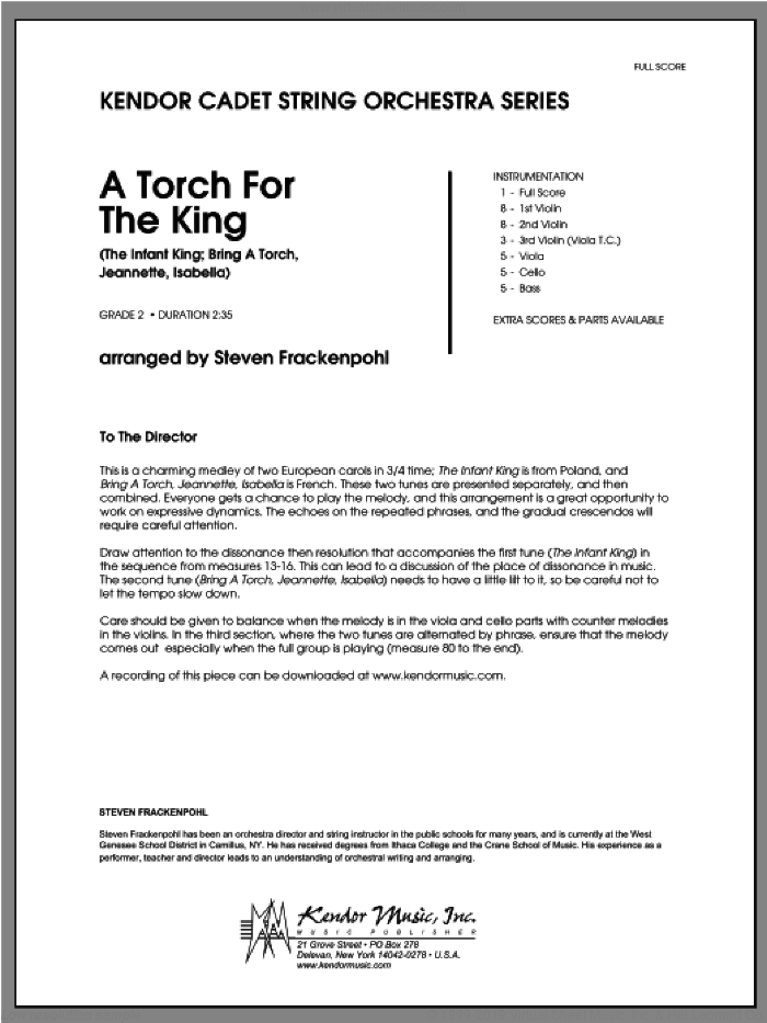Torch For The King, A (COMPLETE) sheet music for orchestra by Steve Frackenpohl, classical score, intermediate. Score Image Preview.