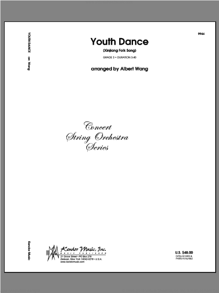 Youth Dance (Xinjiang Folk Song) (COMPLETE) sheet music for orchestra by Wang, classical score, intermediate skill level