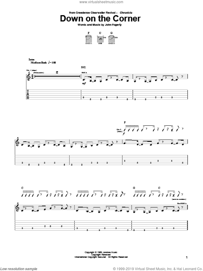 Down On The Corner sheet music for guitar (tablature) by John Fogerty and Creedence Clearwater Revival. Score Image Preview.