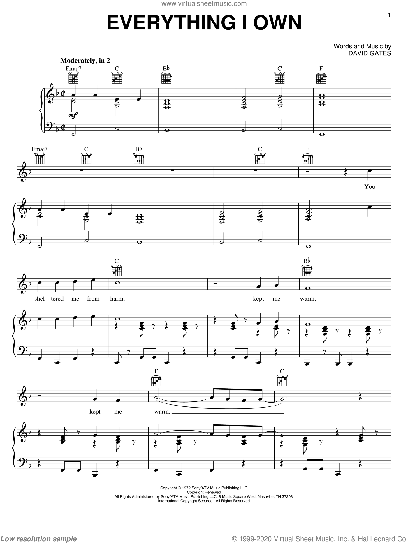 Everything I Own sheet music for voice, piano or guitar by Bread and David Gates. Score Image Preview.