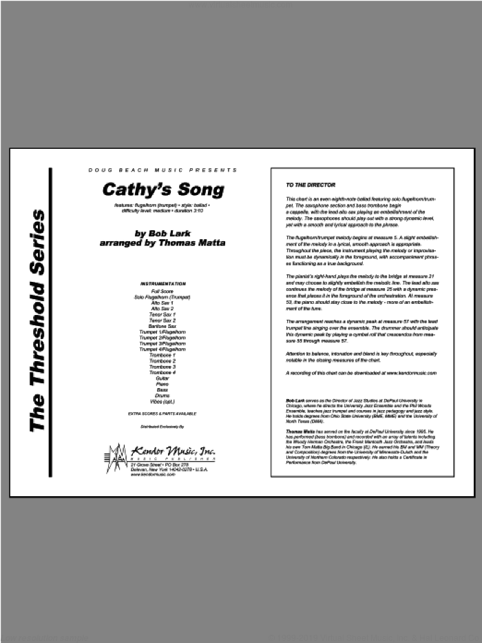 Cathy's Song sheet music for jazz band (full score) by Matta and Lark, intermediate. Score Image Preview.