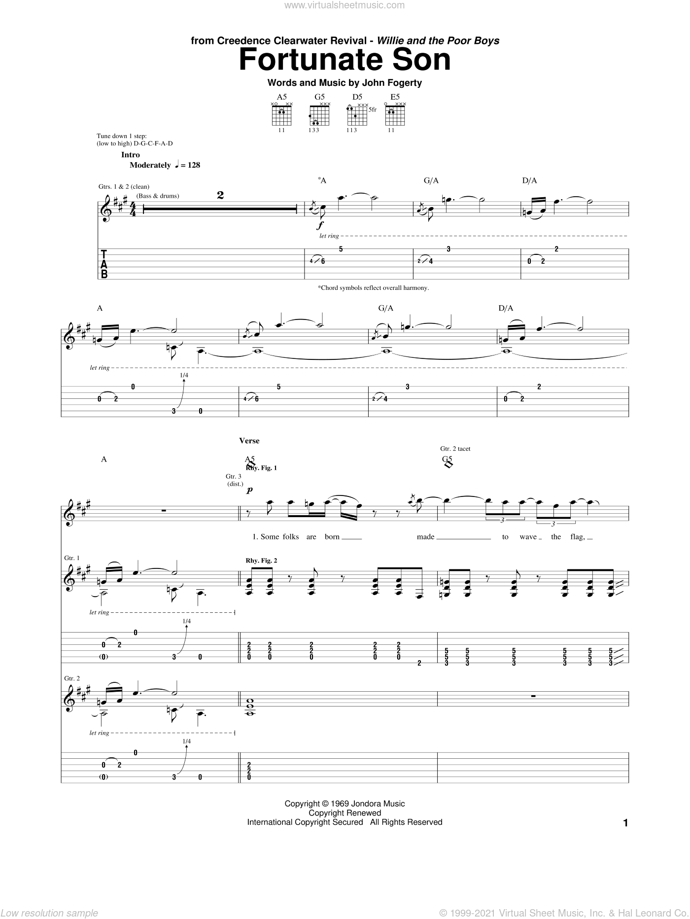 Fortunate Son sheet music for guitar (tablature) by Creedence Clearwater Revival and John Fogerty, intermediate skill level