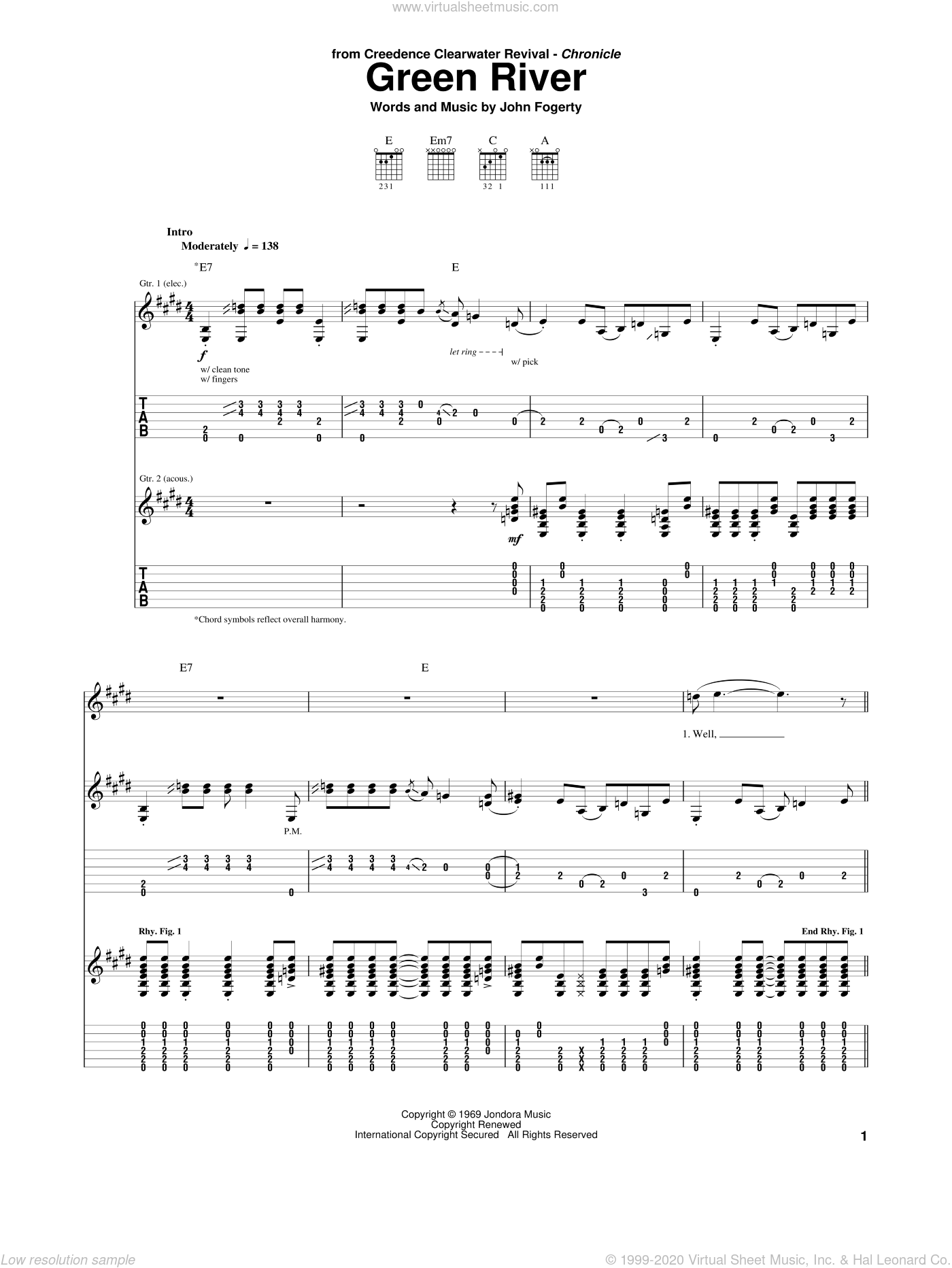 Green River sheet music for guitar (tablature) by John Fogerty and Creedence Clearwater Revival. Score Image Preview.