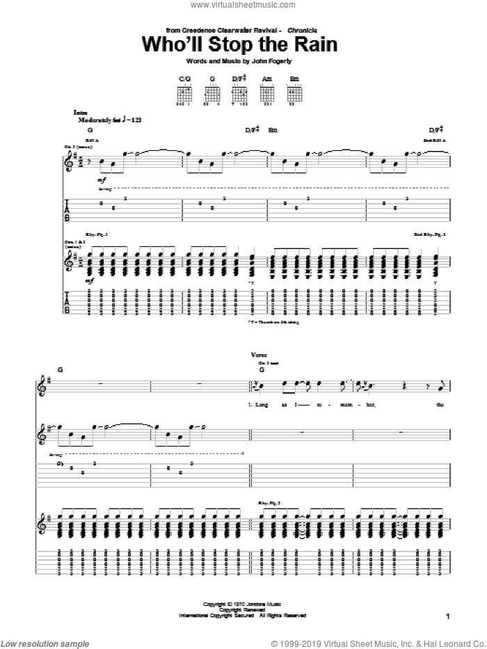 Who'll Stop The Rain sheet music for guitar (tablature) by Creedence Clearwater Revival and John Fogerty, intermediate guitar (tablature). Score Image Preview.