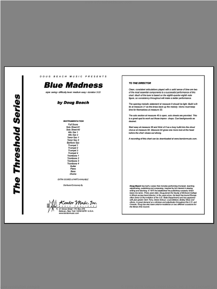 Blue Madness sheet music for jazz band (full score) by Beach, intermediate. Score Image Preview.