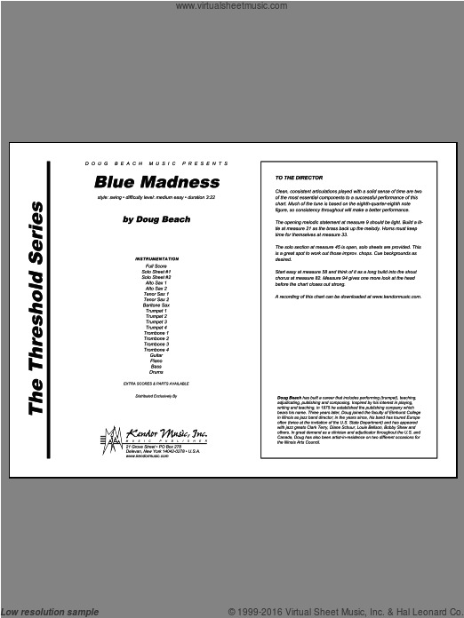 Blue Madness (COMPLETE) sheet music for jazz band by Beach, intermediate. Score Image Preview.