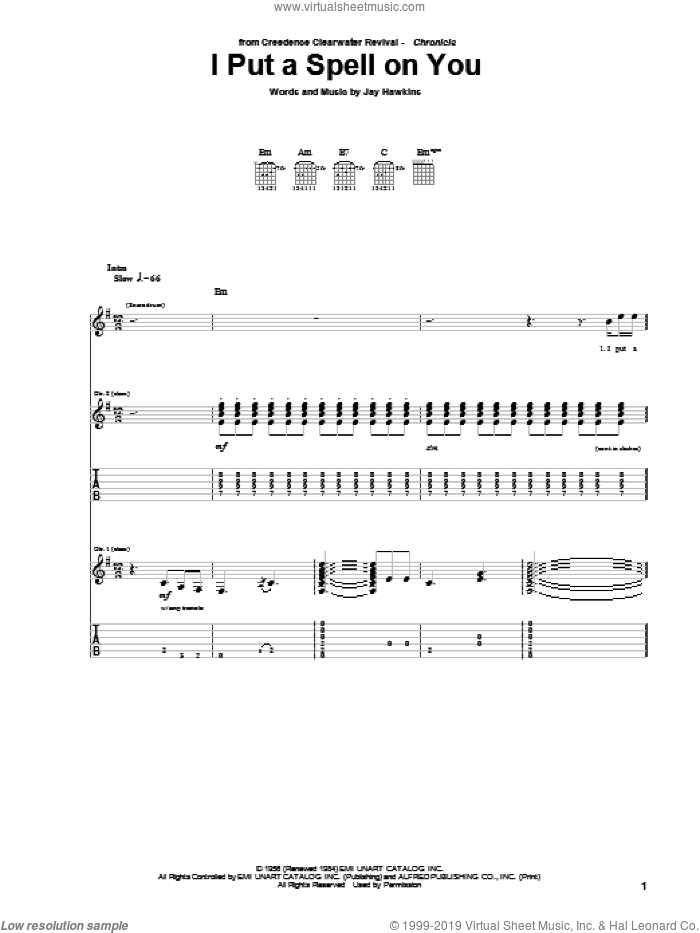 I Put A Spell On You sheet music for guitar (tablature) by Jay Hawkins and Creedence Clearwater Revival. Score Image Preview.
