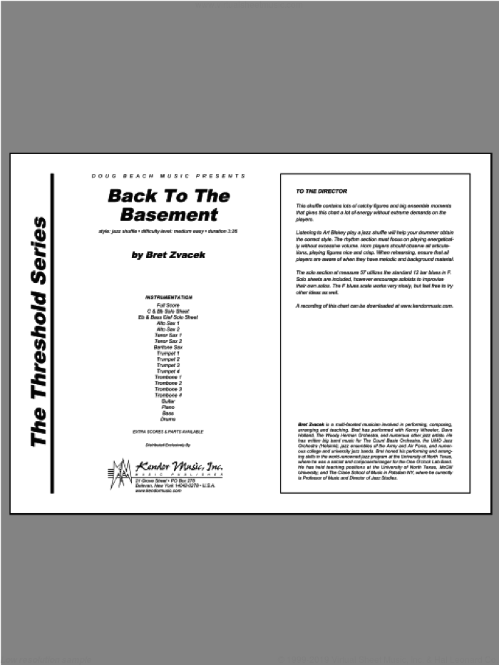 Back To The Basement (COMPLETE) sheet music for jazz band by Zvacek, intermediate skill level