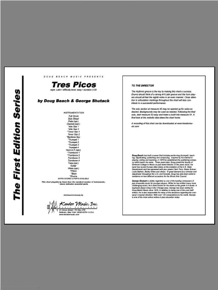 Tres Picos (COMPLETE) sheet music for jazz band by Beach, Shutack, intermediate jazz band. Score Image Preview.