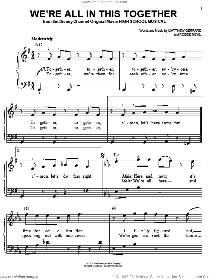 We're All In This Together sheet music for piano solo by High School Musical, Matthew Gerrard and Robbie Nevil, easy skill level