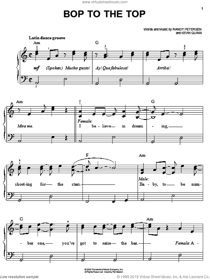 Bop To The Top sheet music for piano solo by Randy Petersen, High School Musical and Kevin Quinn. Score Image Preview.