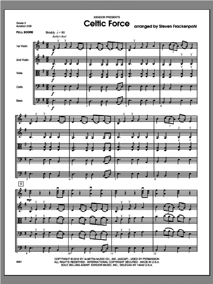 Celtic Force sheet music for orchestra (full score) by Steve Frackenpohl, classical score, intermediate orchestra (full score). Score Image Preview.