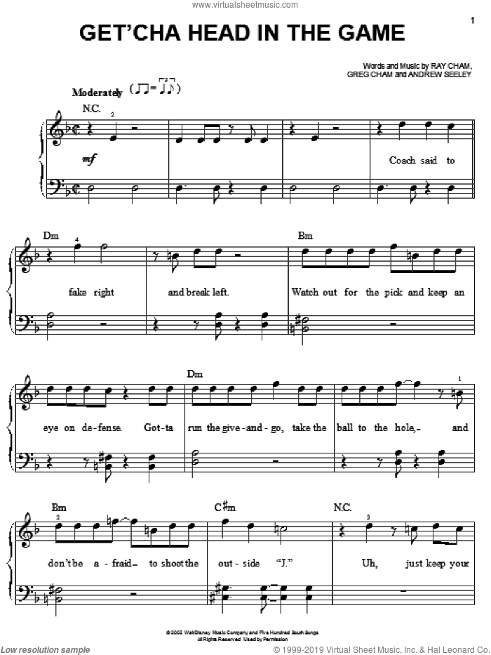 Get'cha Head In The Game (from High School Musical) sheet music for piano solo by High School Musical, Zac Efron, Andrew Seeley, Greg Cham and Ray Cham, easy skill level