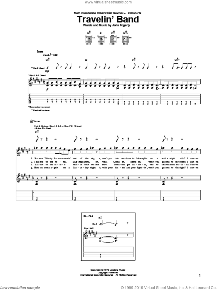 Travelin' Band sheet music for guitar (tablature) by John Fogerty and Creedence Clearwater Revival. Score Image Preview.