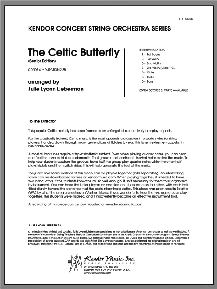 Celtic Butterfly, The (Senior Edition) (COMPLETE) sheet music for orchestra by Julie Lyonn Lieberman, classical score, intermediate skill level