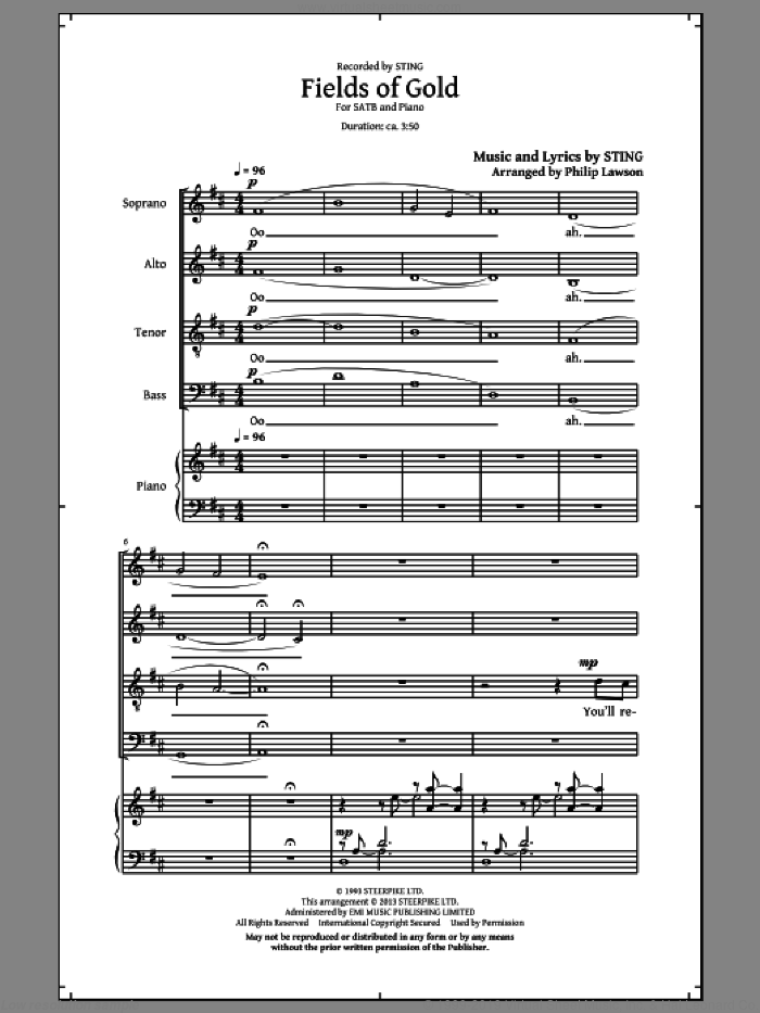 Fields Of Gold sheet music for choir (SATB: soprano, alto, tenor, bass) by Sting and Philip Lawson, intermediate skill level