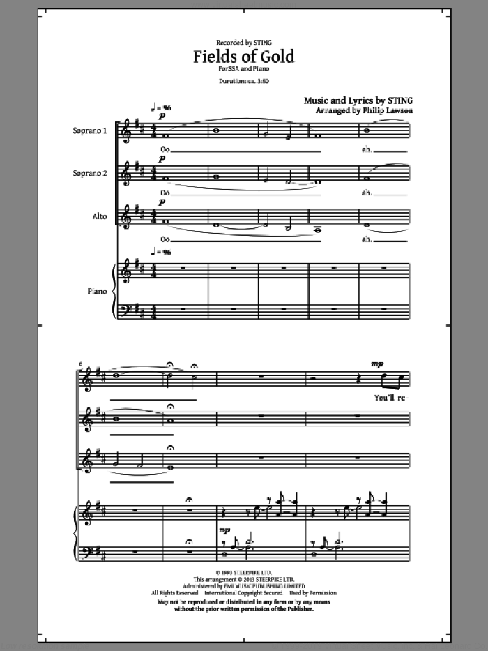 Fields Of Gold sheet music for choir (SSA: soprano, alto) by Sting and Philip Lawson, intermediate skill level