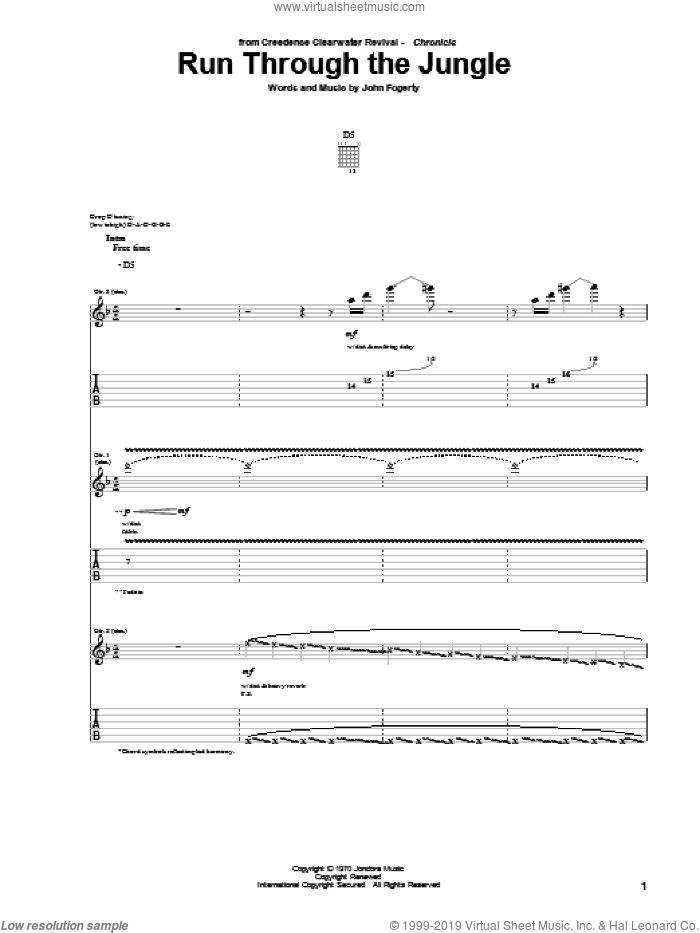 Run Through The Jungle sheet music for guitar (tablature) by John Fogerty and Creedence Clearwater Revival. Score Image Preview.
