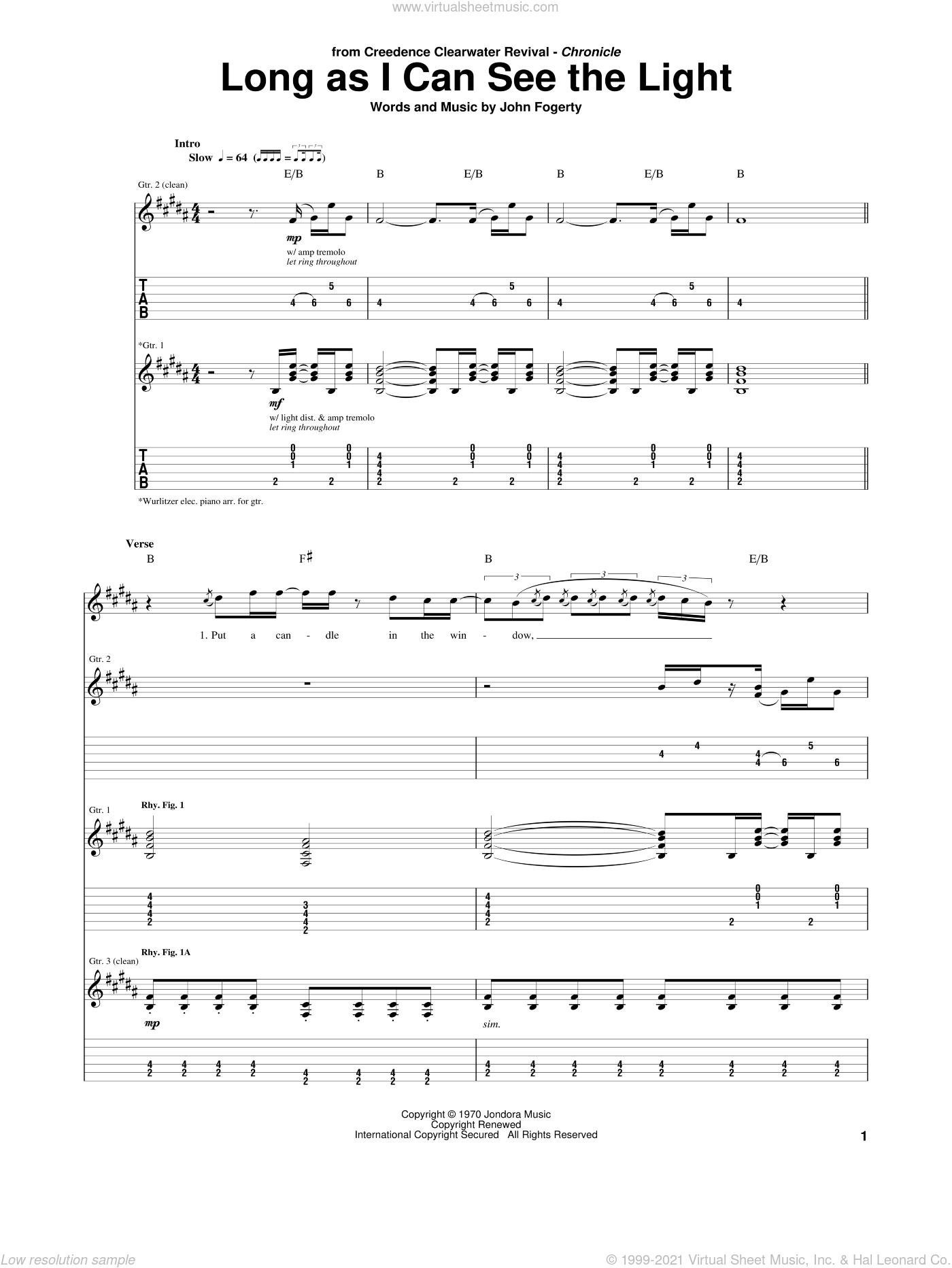 Long As I Can See The Light sheet music for guitar (tablature) by Creedence Clearwater Revival and John Fogerty, intermediate