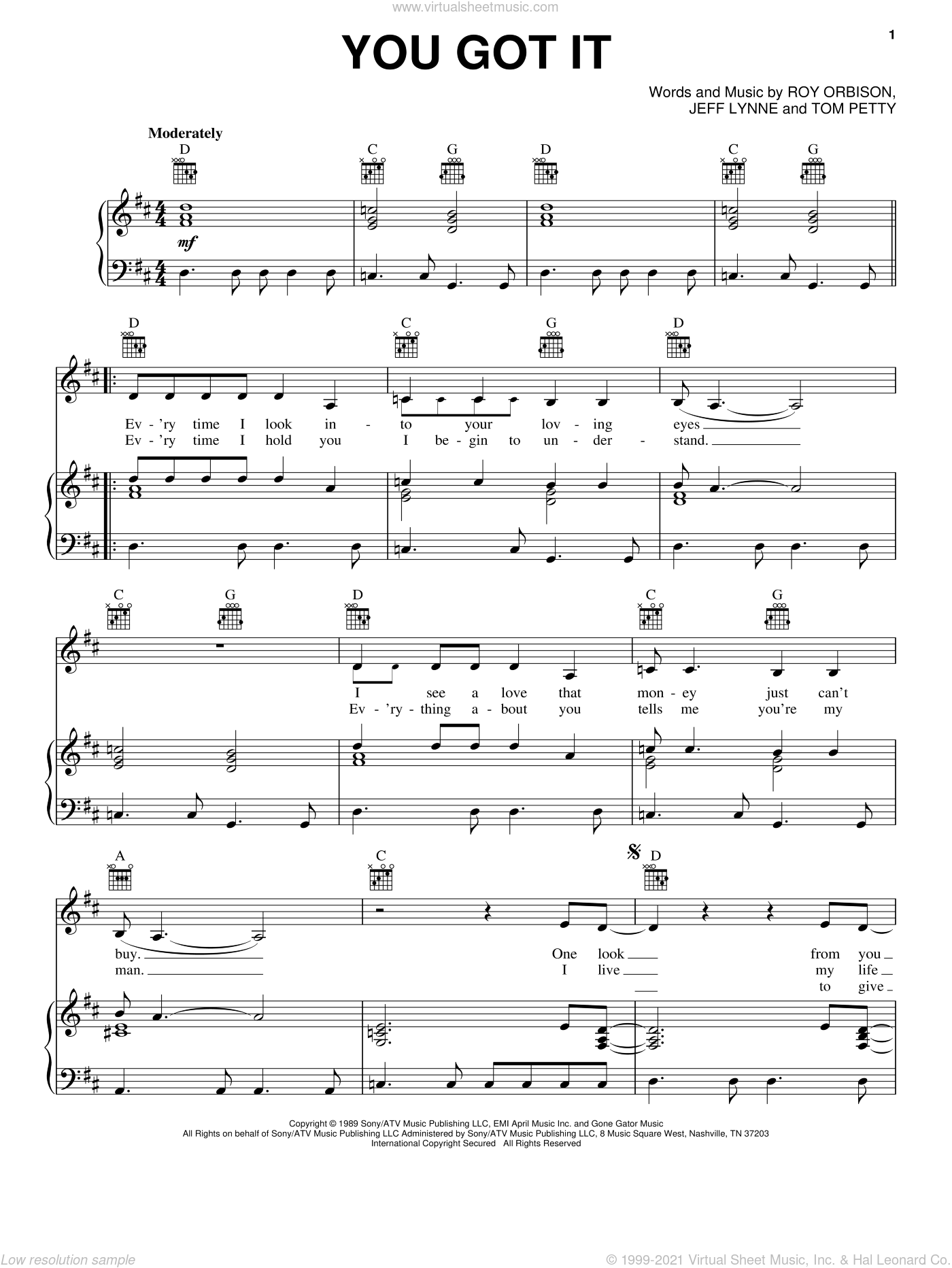 You Got It sheet music for voice, piano or guitar by Tom Petty, Bonnie Raitt, Jeff Lynne and Roy Orbison, intermediate skill level