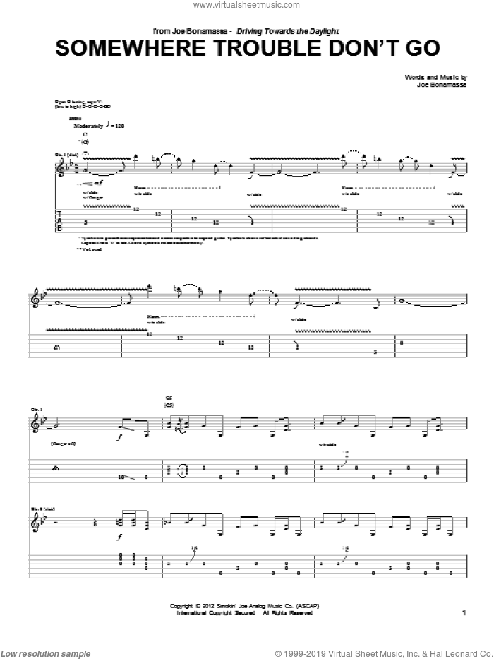Somewhere Trouble Don't Go sheet music for guitar (tablature) by Joe Bonamassa. Score Image Preview.