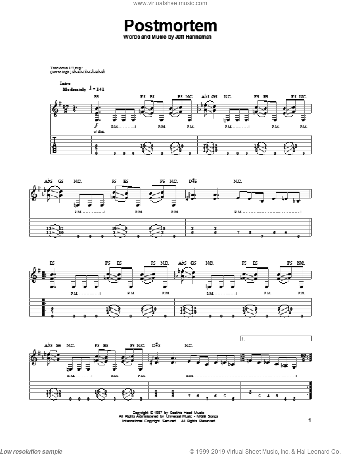 Postmortem sheet music for guitar (tablature, play-along) by Slayer. Score Image Preview.