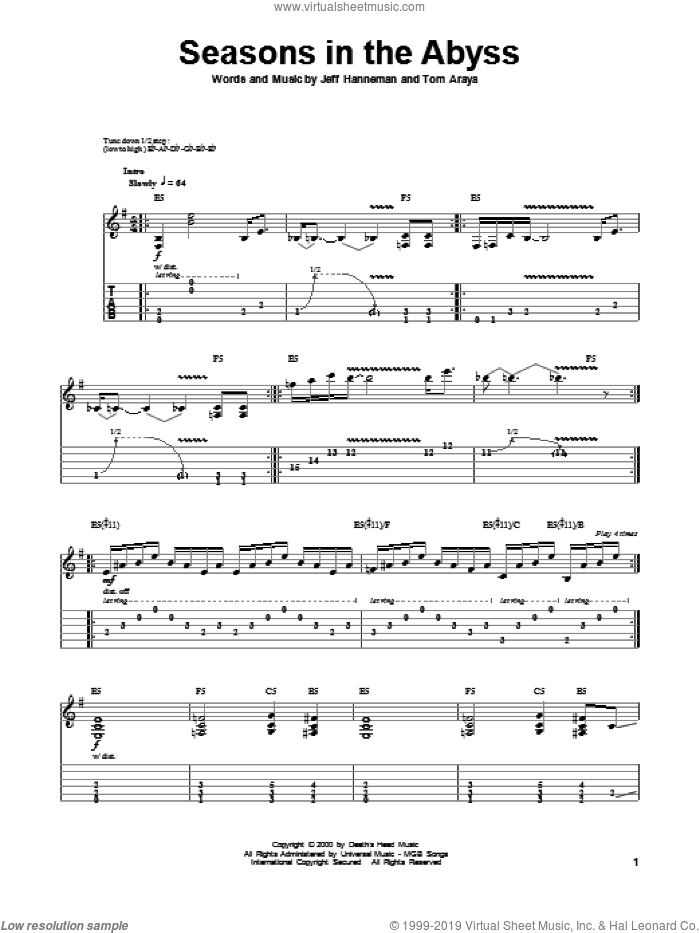 Seasons In The Abyss sheet music for guitar (tablature, play-along) by Slayer. Score Image Preview.